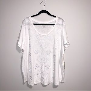 🆕LUCKY BRAND White Embroidered Tee Size 3X